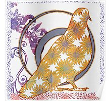Pop Painted Watercolor - Bright yellow purple and white flower pattern - pigeon bird Poster