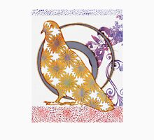 Pop Painted Watercolor - Bright yellow purple and white flower pattern - pigeon bird Unisex T-Shirt