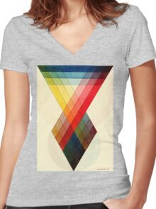 Chromatic scale chart by J. Sowerby, 1807 Women's Fitted V-Neck T-Shirt