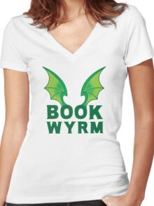 BOOK WYRM (bookworm) Dragon wings Women's Fitted V-Neck T-Shirt