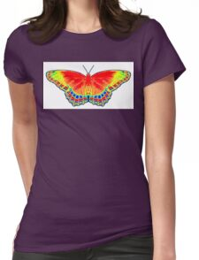 Colorful Butterfly - Red Womens Fitted T-Shirt