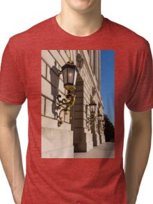 Light and Shadow - Antique Gilded Lanterns on a Washington, DC Facade Tri-blend T-Shirt