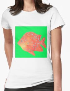 Tropical Fish painting on lime background Womens Fitted T-Shirt