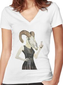 She Devil Women's Fitted V-Neck T-Shirt