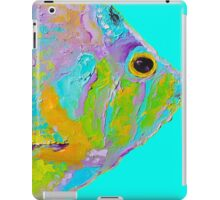 Tropical Fish painting on turquoise background iPad Case/Skin