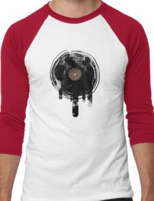 Cool Melting Vinyl Records Retro Music DJ! Men's Baseball ¾ T-Shirt