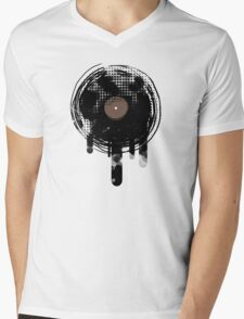 Cool Melting Vinyl Records Vintage Music T-Shirt Mens V-Neck T-Shirt