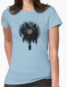 Cool Melting Vinyl Records Vintage Music T-Shirt Womens Fitted T-Shirt
