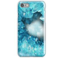 Aqua blue heart shaped crystals geode iPhone Case/Skin