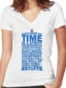 Doctor Who Time Quotes Women's Fitted V-Neck T-Shirt