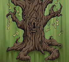 Gnarled Tree with Skeleton Keys in Green by SuspendedDreams