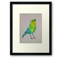 Bird in greens Framed Print