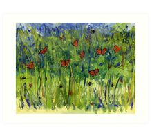 In the Garden Watercolour Painting Art Print