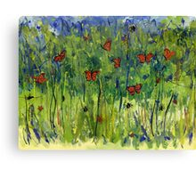 In the Garden Watercolour Painting Canvas Print