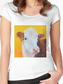 Brown and white Hereford Cow on gold Women's Fitted Scoop T-Shirt