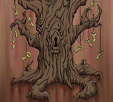 Gnarled Tree with Skeleton Keys in Red by SuspendedDreams