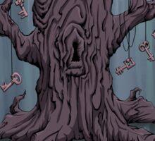 Gnarled Tree with Skeleton Keys in Blue Sticker