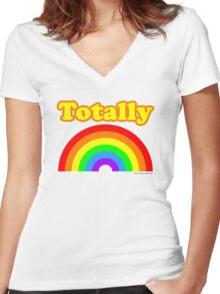 Totally Rainbow Logo Women's Fitted V-Neck T-Shirt