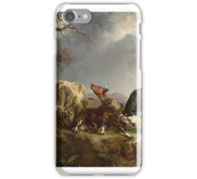 Jacques Raymond Brascassat - Two bulls defending against a cow attacked by wolves iPhone Case/Skin