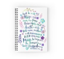 Revelation 21:4 (Purple Flowers) Spiral Notebook