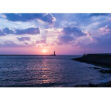 Roker Lighthouse at dawn Photographic Print
