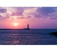 Roker light house at dawn Photographic Print