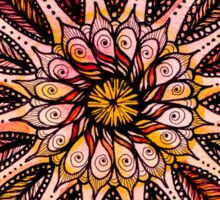Orange mandala.Hand draw  ink and pen, Watercolor, on textured paper Sticker
