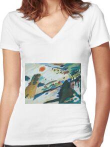 Kandinsky - Romantic Landscape   Women's Fitted V-Neck T-Shirt