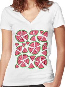 Watermelon Slice Party Women's Fitted V-Neck T-Shirt