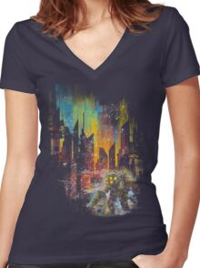 leaving rapture Women's Fitted V-Neck T-Shirt