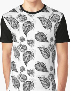 Winter leaf Black and White Graphic T-Shirt