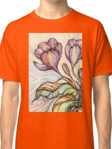 Crocus.Hand drawn watercolor and ink drawing Classic T-Shirt