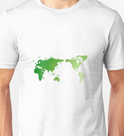 Green watercolour world map design Unisex T-Shirt