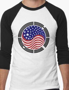 Korean American Multinational Patriot Flag Series Men's Baseball ¾ T-Shirt