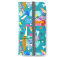 Mid Century Modern - Abstract teal iPhone Wallet/Case/Skin