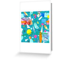 Mid Century Modern - Abstract teal Greeting Card