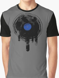 Melting Vinyl Records Vintage Blue Art Graphic T-Shirt