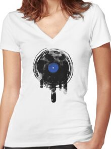 Melting Vinyl Records Oldies Retro Design Women's Fitted V-Neck T-Shirt