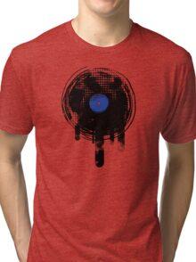 Melting Vinyl Records Oldies Retro Design Tri-blend T-Shirt