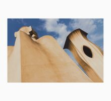 Whimsical Chimneys - Antoni Gaudi's Smooth Shapes and Willowy Curves - Left One Piece - Short Sleeve