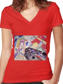 Kandinsky - White Zig Zags 1922  Women's Fitted V-Neck T-Shirt