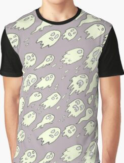 Purple Ghost Pattern Graphic T-Shirt