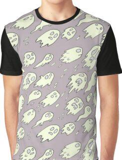 Purple Ghost Pattern Graphic T-Shirt