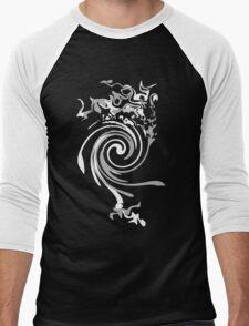 Black and White Swirl Men's Baseball ¾ T-Shirt