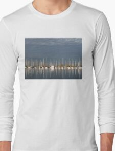 A Break in the Clouds - Gray Sky, White Yachts Long Sleeve T-Shirt
