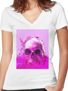 Purple Skull in Water Women's Fitted V-Neck T-Shirt