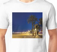 The Golden Beach of Barcelona - Bright Lights Blue Hour in La Barceloneta Unisex T-Shirt
