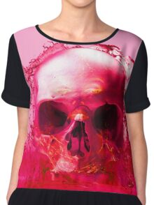 Red Skull in Water Chiffon Top