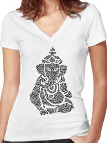 Ink Rain Ganesha Women's Fitted V-Neck T-Shirt