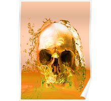 Golden Skull in Water Poster